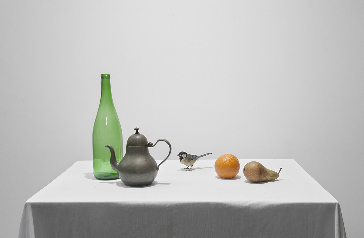 Stilleven opstelling op wit tafellaken met koolmees, peer, tinnen theepot, sinasappel en groene fles