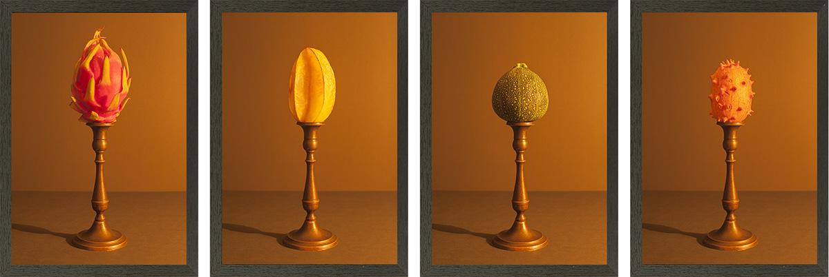serie exotisch fruit aangelicht door kaarslicht