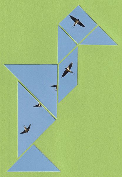vliegende vogels in Tangram constructie geplakt op papier