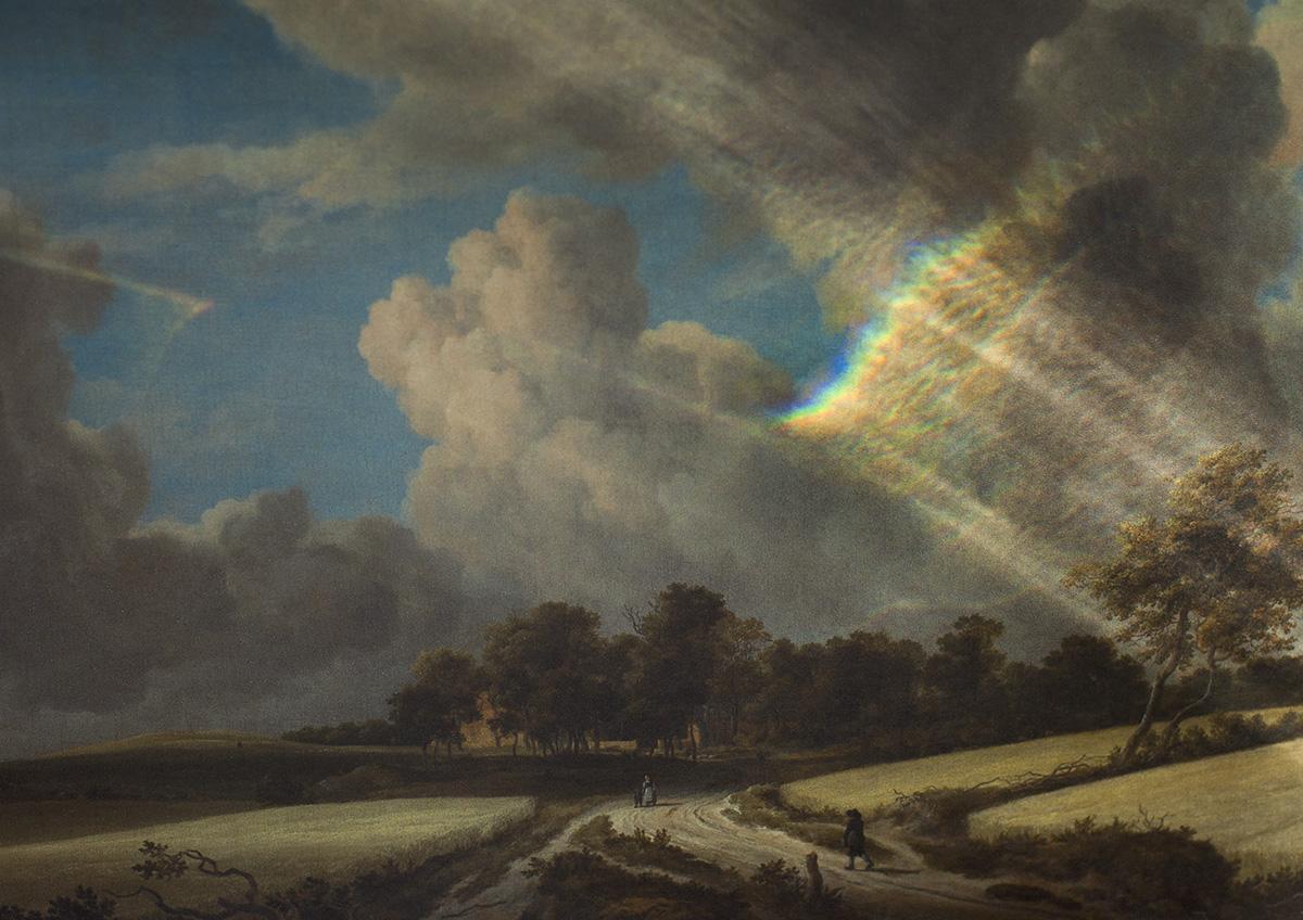 Regenboog projectie op oud Hollands schilderij Jacob van Ruysdael